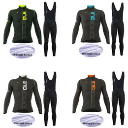 Wholesale Blue Thermal - 2017 New! Ale Team Men's Winter Thermal Fleece Cycling Jersey Set. Long Sleeve Bicycle Cycling Clothing Bike Wear Outdoor Sportswear Gel Pad