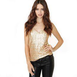 Gilet d'oro per le donne online-Donne sexy Camis Top 2017 Estate stile moda oro paillettes Vest alta qualità delle donne sottili vestiti canotta marca gilet ST114