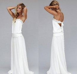 Wholesale Strapless Pearl Dress - 2017 Vintage Beach Wedding Dresses 1920s Cheap Dropped Waist Bohemian Strapless Backless Boho Bridal Gowns Lace Ribbon Custom Made