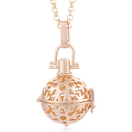 Wholesale Cage Bola - Gold-Tone Snowflake Pattern Cage Locket Necklaces Hollow Pregnant Baby Chime Music Ball Bola Statement Necklaces With Free Chain
