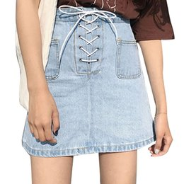 Wholesale Knee Skirt Denim Blue - Spring New Arrival Casual Loose Women Denim Skirts Pockets Design High Waist Drawstring Denim A-line Mini Skirt Lady Skirt JHJ