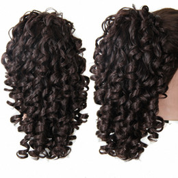 Wholesale Wholesale Fake Hair Ponytail - Wholesale- Ponytail Hair Extension Synthetic Hair Curly Hairpiece Clip In Short Curly Wavy Ponytails Fake Hair Pony Tail Natural Hairpieces