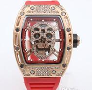 Wholesale Golden K - new Luxury Bran Hollow Golden Dial Red k Rubber Belt Womens Stainless Pointer Watch Womens Fashion Wrist Watchesver