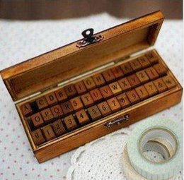 Wholesale Wood Working Set - Wholesale- 42pcs set Creative Letters & Numbers stationery Wood Stamp Set  DIY Stamp  Decorative Funny Work  wooden box   Free shipping