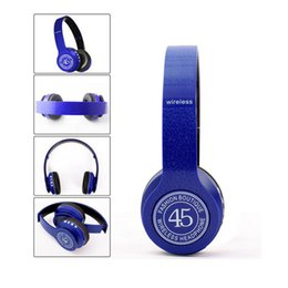 Wholesale Tf Card Bluetooth Headset - P45 Headphone Headband Stereo Headset Wireless Bluetooth 4.0 EDR Earphones TF Card MP3 player FM Radio with Mic In Retail Packing