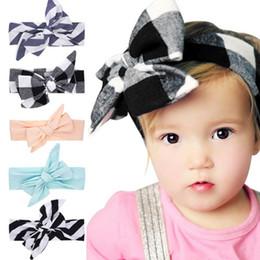 Wholesale Big Knot Tie - 2017 New Littlge girls Big Bow Headwraps DIY Turban Tie Kids Summer headband Child Top Knot Cotton Head Wrap Photo Props