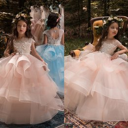 Wholesale Beauty Pageant Royal Blue Dresses - High Quality Royal Girls Beauty Dress Sheer Neck Organza Tiered Buttons Flower Girl Dresses Cap Sleeve Open Back Kids Pageant Gowns