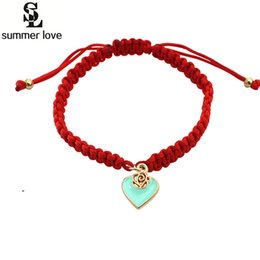 Wholesale Red Lucky Hand String - Wholesale- Wholesale Heart Love Bracelet Bangle Red Lucky Rope Cord String Fashion Hand Bracelet Women With Love Heart