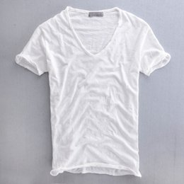Wholesale Cardigans For Men Sale - Wholesale- Hot Sale Cheap Men V-neck cotton Shirt Fashion Solid Short Sleeve Cardigan Popular Casual Shirt Summer Thin shirt For Male XXL