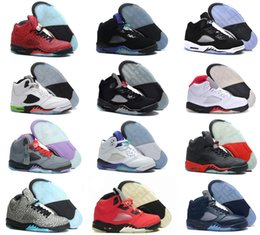 Wholesale Mark Pu Leather - 2016 High Quality air retro 5 Basketball shoes Mens space jam Green Bean Stealth Green Bean Mark Ballas Sneakers Athletics Boots