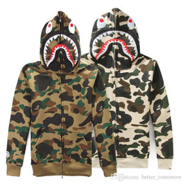 Wholesale Cheap Shark Hats - Production Customize Tide Shark Printing Sweater Men And Women Increase Down Even Hat Loose Coat . cheap cheap