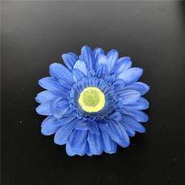 Testa blu fiore artificiale online-Blu Seta Artificiale Daisy Capolini 11cm Real Touch Daisy Fiori di Seta Crisantemo Girasoli Fiori Per Matrimonio Patry Decorazione