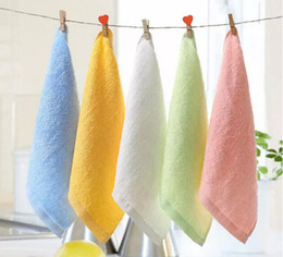 Wholesale White Washcloths - 2017 new Towels & Robes Soft Bamboo Organic Baby Flannel Face Hand Embroidered Towel Washcloth Wipes free shipping