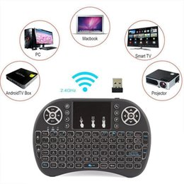 Wholesale Mini Touchpad Android - Rii I8 Smart Fly Air Mouse Remote Backlight 2.4GHz Wireless keyboard Remote Control Touchpad For Android Box MX3 M8S White Black