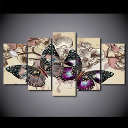Discount art room hd pictures - HD Printed 5 piece canvas art flower butterfly painting 5 piece paintings wall pictures for living room