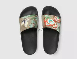 Wholesale Leather Back Flowers - free shipping 2017 mens fashion sandals mens summer outdoor beach slide sandals tian blooms print flower slide slippers size 40-45
