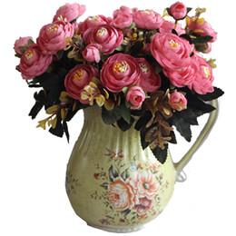 Décorations de mariage d'automne en Ligne-Automne Thé Rose Soie Fleur Artificielle 6-branche 28 cm Longueur Parti De Mariage Décor Fleurs Maison Décoration Usine