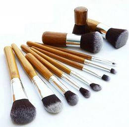 Wholesale Bag Concealer - Professional Bamboo Makeup Brush Sets 11 Pcs Cosmetics Makeup Maquiagem Concealer Cosmetic Brushes Kits with Draw String bag DHL Ship
