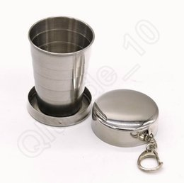 Wholesale Folding Cup Steel - Stainless Steel Portable Travel Foldable Collapsible Cup 75ML Camping Folding Cup Hiking Mug With Keychain OOA1186