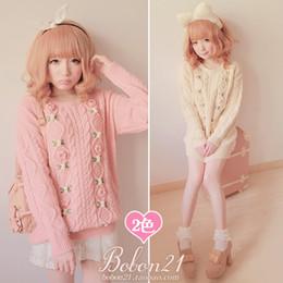 Wholesale types women sweaters - Wholesale- Princess sweet lolita sweater BOBON21 soft amo pink 3D small flowers twist thick sweater Autumn and winter warm long type T0895