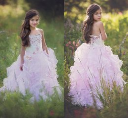 Wholesale Teen Strapless Dresses - 2017 New Princess Girls Pageant Dresses Sweetheart Crystal Flower Girl Dresses For Toddlers Teens Kids Formal Wear Party Communion Dress