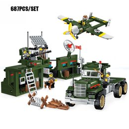 Wholesale Enlighten Brick Military - 687PCS Military Base Mobile Combat Vehicle Aircraft Model Bricks Army Soldier Search Dog Toy For Boy's Compatible Enlighten