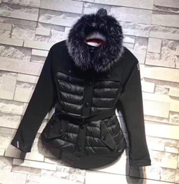 Wholesale Counter Down - M Brand Large Raccoon Fur Collar Hooded Down Coat With Belt Waist Thick Duck Down Parkas Red Black Color WOMEN 2017 Counter down jacket