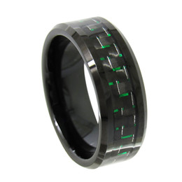 Wholesale Tungsten Green Inlay - Mens 8mm Black Tungsten Carbide Ring beveled edges with black and green carbon fiber inlay popular and fashion jewelry finger ring