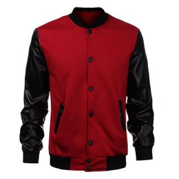 Wholesale Mens Leather Baseball Jackets - Wholesale- Cool Mens Wine Red Baseball Jacket Autumn Fashion Slim Black Pu Leather Sleeve Bomber Jacket Jaquetas Men Brand Varsity Jackets