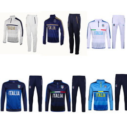 Wholesale Shinny Suits - 2017 2018 Survetement football Italy tracksuit italia training suit kits Soccer Chandal italian training shinny tight pants sweater shirt