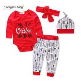 Wholesale Hair Piece Hats - 2017 Ins Christmas baby boutique outfits Girls boutique clothing Girls Baby Clothes Infant suits 4pcs sets Romper+Hat hair band+Pants A1028