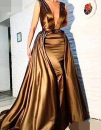 Wholesale Navy Blue Skirt Woman - 2017 Romantic Sheath Deep V Neck Long Evening Dress With Detachable Skirt Beaded Arabic Evening Gowns Gold Women Formal Dress for Party Wear