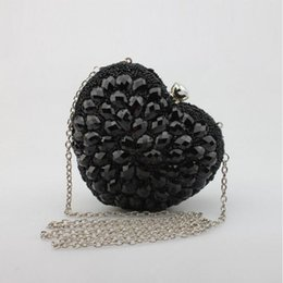 Wholesale Heart Shape Shoulder Bags - 2016 womens evening clutch diamond heart shaped evening bags glitter gold silver bling women wedding beaded purse party bag 672t