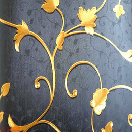Wholesale Silver Wallpaper Wholesale - Wholesale-high-grade gold and silver foil embossed PVC wallpaper   high-grade gold and silver foil wallpaper   Black Platinum wallpaper