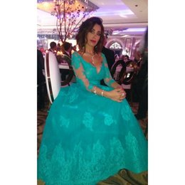Wholesale High Collar Quarter Sleeve - V-neck prom gowns Turquoise Green 2017 New Arrival Charming Lace Applique Three Quarter Sleeves A Line Formal Long Evening Dresses Plus Size