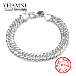 Wholesale Whip Women - YHAMNI Luxury Top Quality Classy 10mm Charm Whip Rope Silver Bangles For Women Men Fashion Unisex Jewelry H102