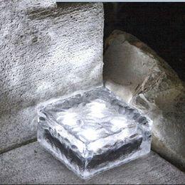 Wholesale Solar Ice Brick - Free shipping solar led multi color ice path glass waterproof floor mini Solar Ice Glass Brick Light Garden Light