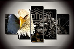 Wholesale Spray Paint Mm - Unframed Hd Printed Eagles Motorcycle Canvas Painting on the Wall Art Modular Pictures Unframed 5 Pcs Home Decor Modular Pictures Posters