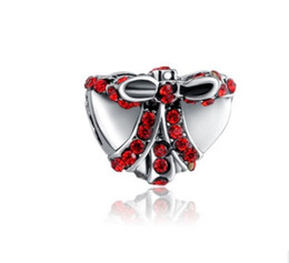 Wholesale Pandora Red Box - Fits Pandora Charm Bracelet Red Crystal Christmas Heart Bowknot Gift Box Silver Plated Loose Charms For Diy European Style Snake Charm Chain