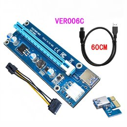 Wholesale Pci Express Port - PCI-E Express Extender Riser Card Adapter 1X to 16X w 6 Pin Power Cable USB 3.0 Ports Cables Ver006C 60cm
