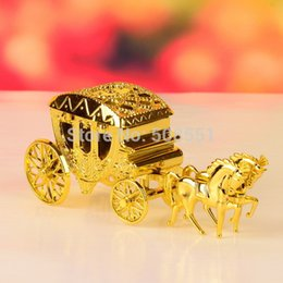 Wholesale Cinderella Carriage Candy Boxes - Wholesale- 2pcs Cinderella Theme Gold And Silver Royal Carriage Design Candy Gift Boxes Wedding Party Favor Box Wedding Box Party Candy Box