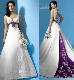 Wholesale Empire Waist Dresses Sleeveless Summer - Plus Size White and Purple Wedding Dresses Empire Waist V-Neck Beads Appliques Satin Sweep Train Bridal Gowns Custom Made 2017 Hot Sale