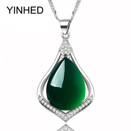 Wholesale Luxury Jade Jewelry - YINHED Brand Luxury Natural Green Jade Chalcedony Pendant Necklace 925 Sterling Silver Jewelry Necklace for Women Gift ZN111