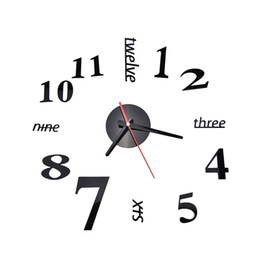 Wholesale Diy Modern Wall Clocks - Wholesale-Fashion Quartz Clocks Watches 3D Real Big Wall Clock Rushed Mirror Sticker Diy Living Room Decor