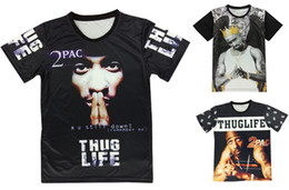 Wholesale Women Graphic Tee - Newest 3d hip hop t shirt tupac 2pac thug life classic graphic hip hop short sleeve tee shirt for women men O-Neck T Shirt For Streetwear