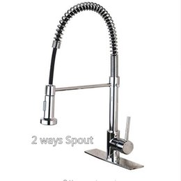 Wholesale Black Single Handle Kitchen Faucet - Chrome Black Nickel Spring Kitchen Faucet Single Handle 2-function Water Outlet Pull Down Kitchen Mixers with Hot and Cold Water