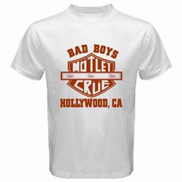 Wholesale Men S Bands - New MOTLEY CRUE Bad Boys Hollywood Rock Band Men's White T-Shirt Size S-3XL Short Sleeves Cotton Fashion Free Shipping