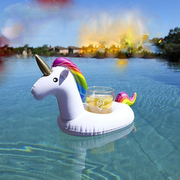 Wholesale Boat Cup Holders - 10pcs lot Mini Unicorn Inflatable Cup Holder Drink Floating 2017 Newest Party Beverage Boats Phone Stand Holder Pool Toys