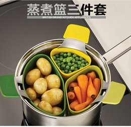 Wholesale Silicone Food Pod - Nest Steam 3 Piece Steaming Pod Set Steam Different food separately Boiled water basket Kitchen Appliance