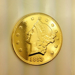Wholesale Reverse Ornament - HOT SELLING $20 2 PCS (1853-P-O) Real 24K gold plating Liberty Head (NO MOTTO ON REVERSE) Twenty Dollars Or Doublle Eagle  FREE SHIPPING